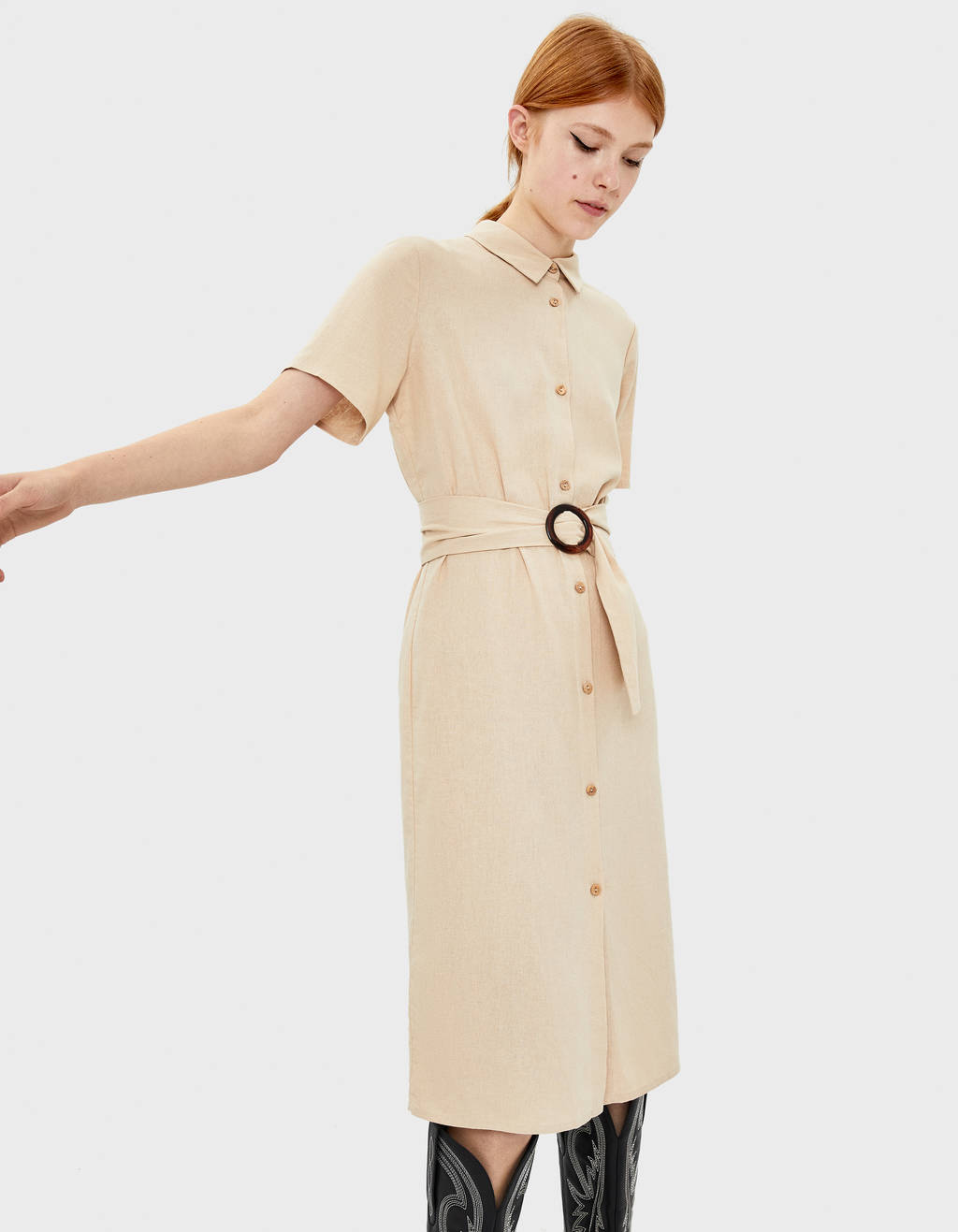 Dress with ring belt
