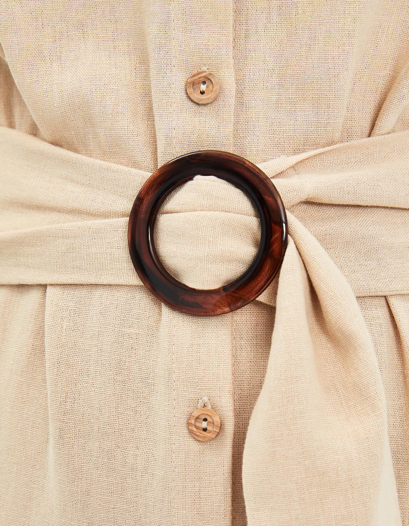 Платье с поясом с кольцом Песочный Bershka