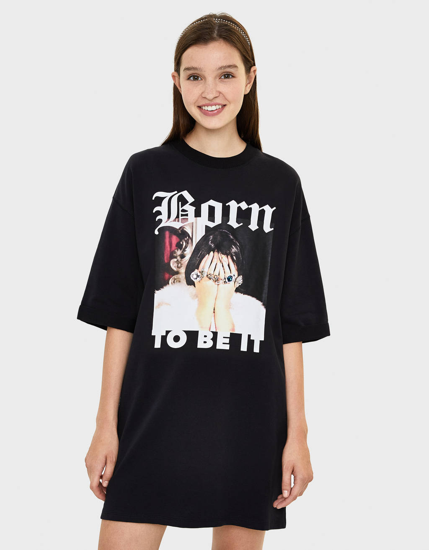 Plush jersey dress with print