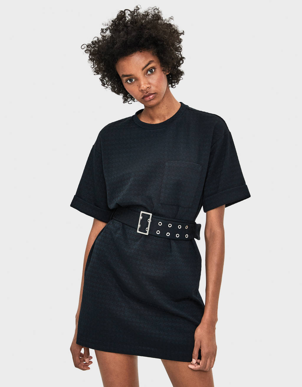 Textured dress with belt