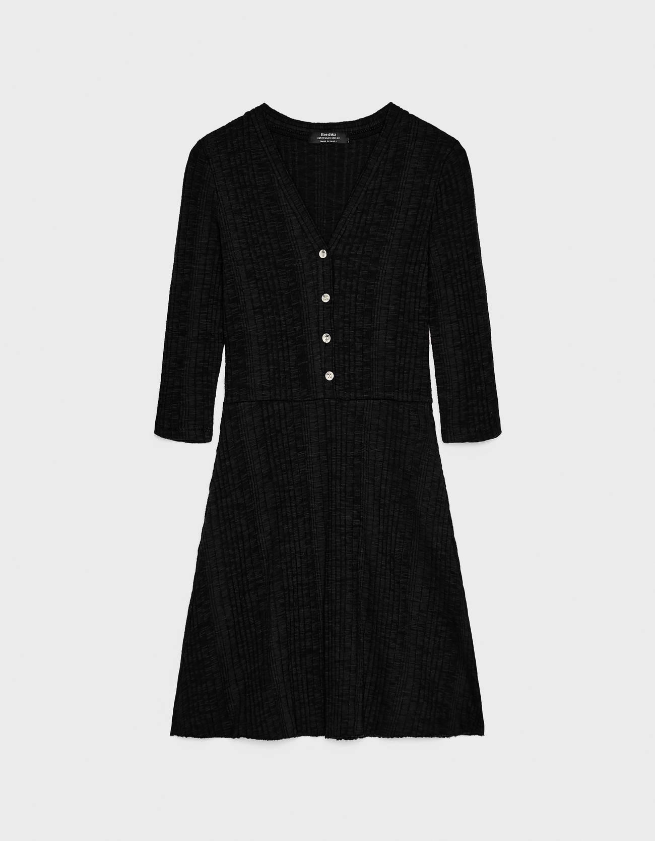 Короткое платье с застежкой на пуговицы Черный Bershka