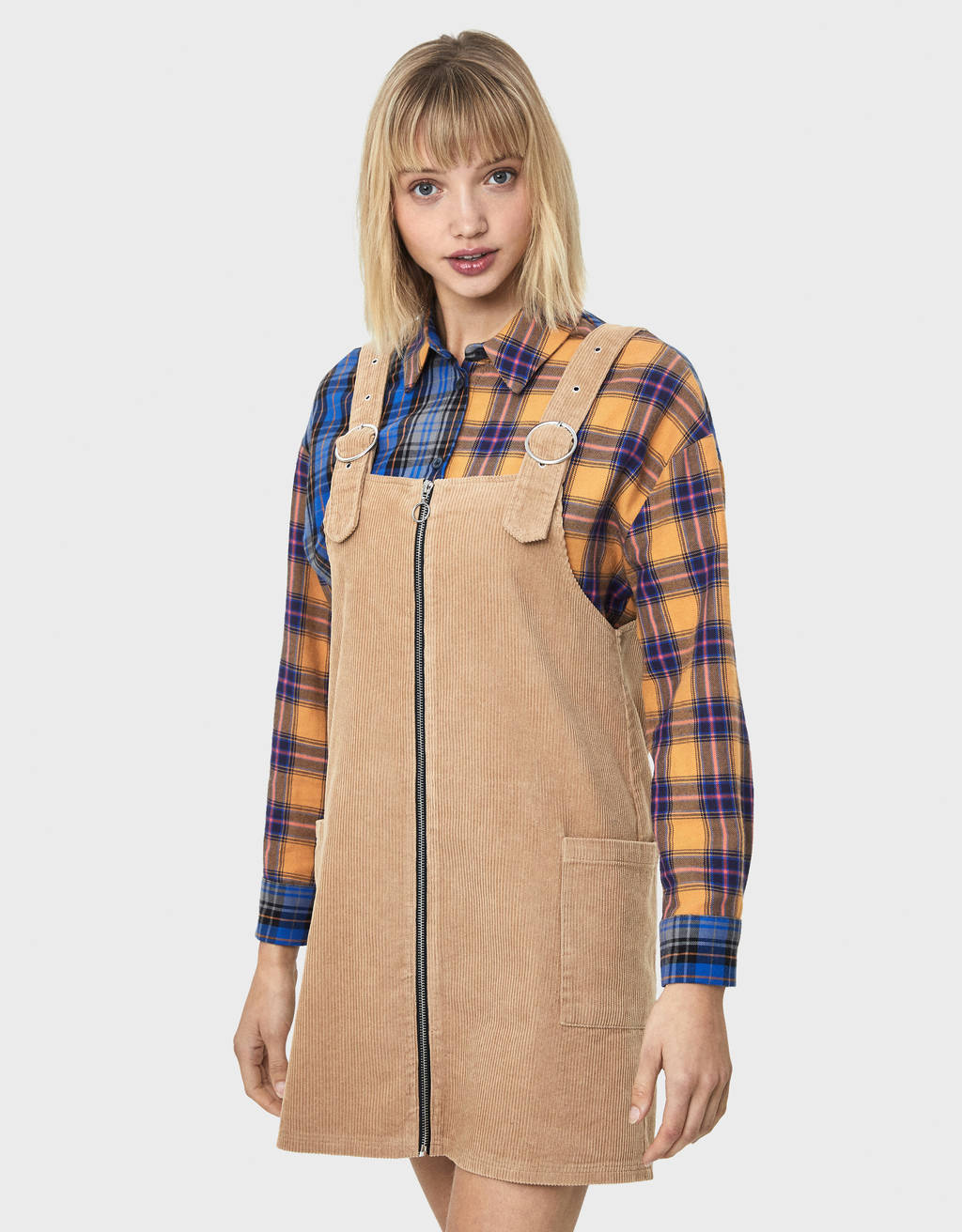 Corduroy zip-up pinafore dress