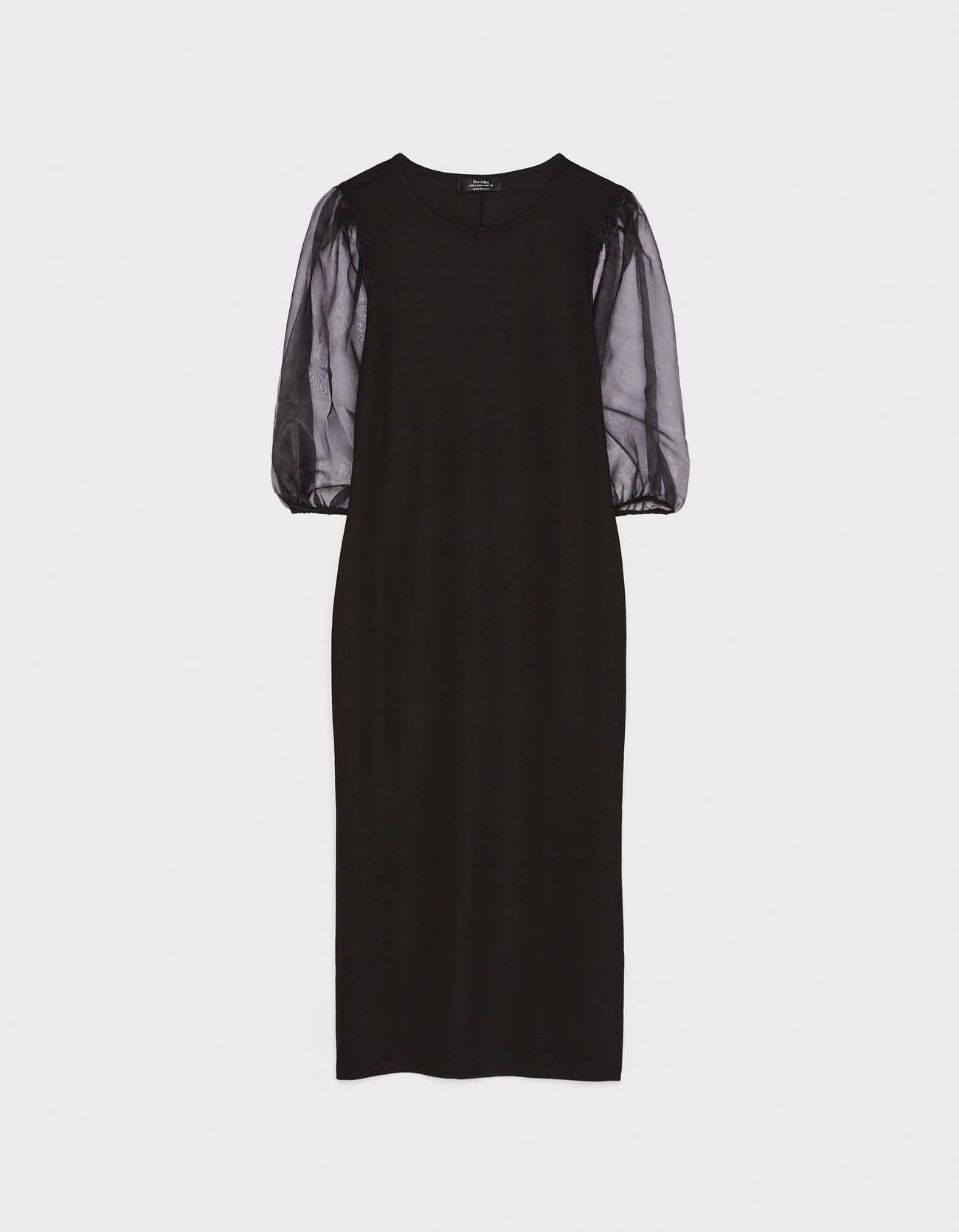 Платье с рукавами-фонариками из органзы Черный Bershka
