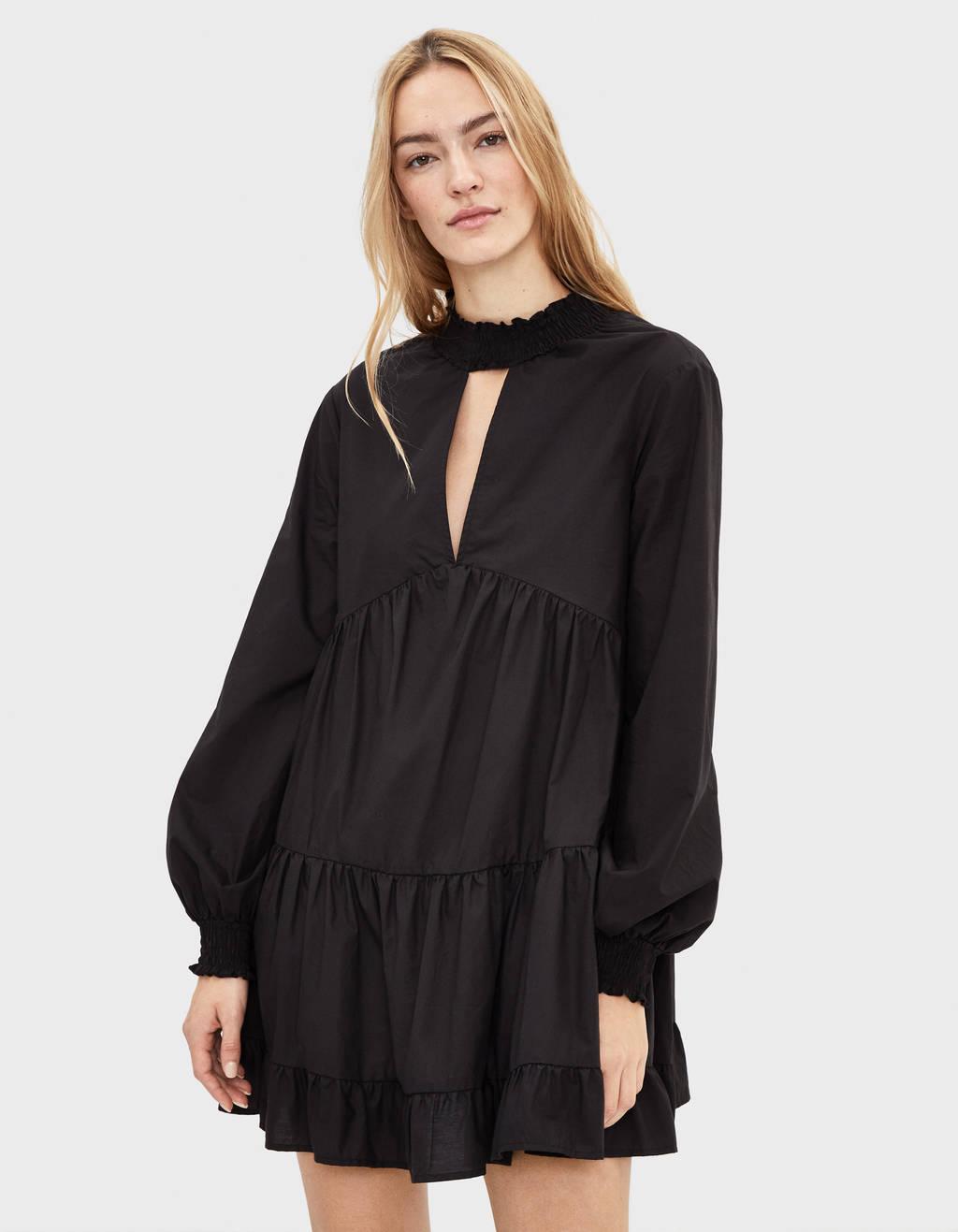 Ruffled poplin dress