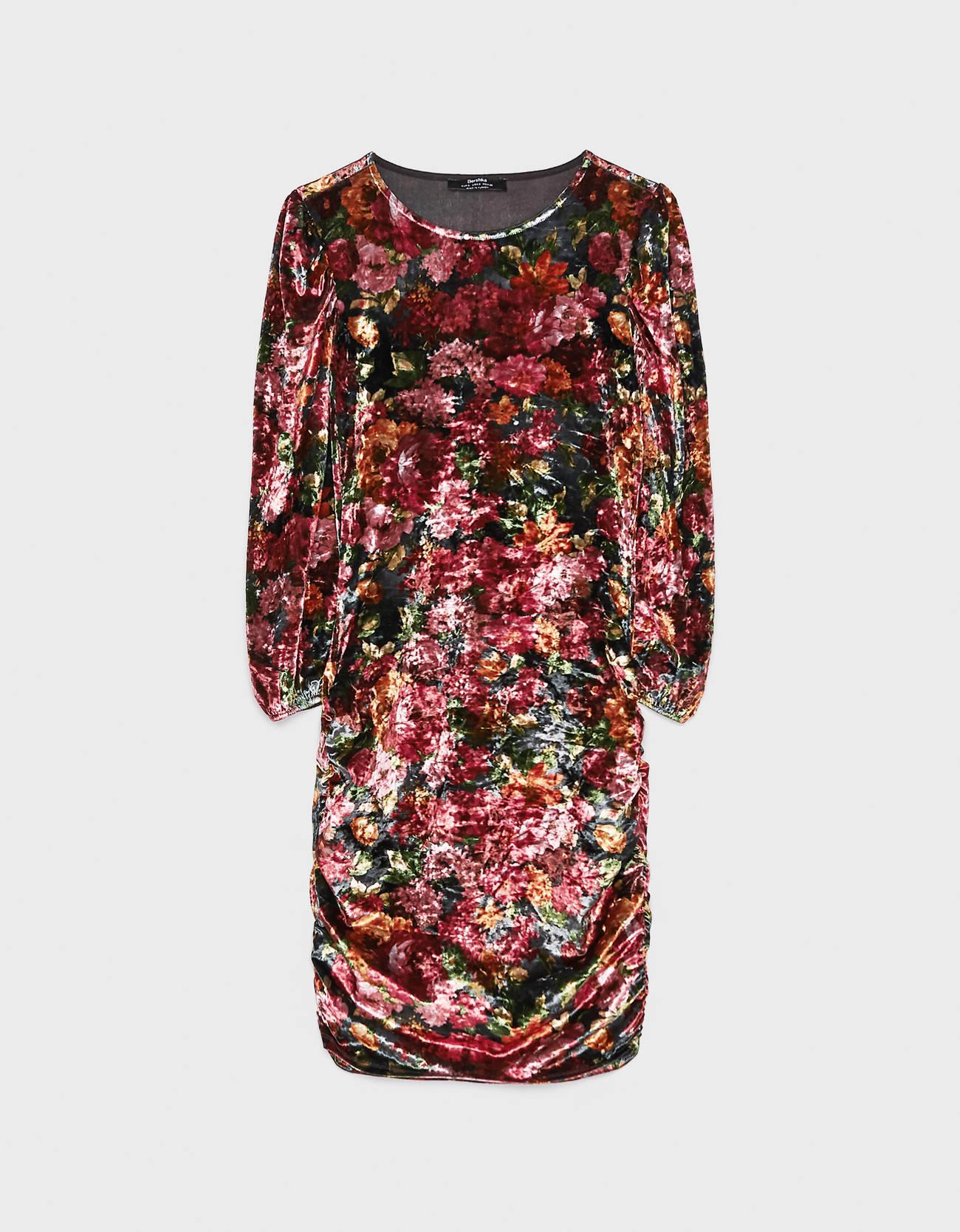 Платье из бархата с цветочным принтом ГРАНАТОВЫЙ Bershka