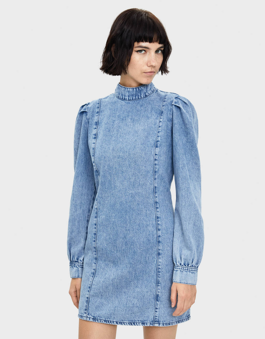 Long puffy sleeve denim dress