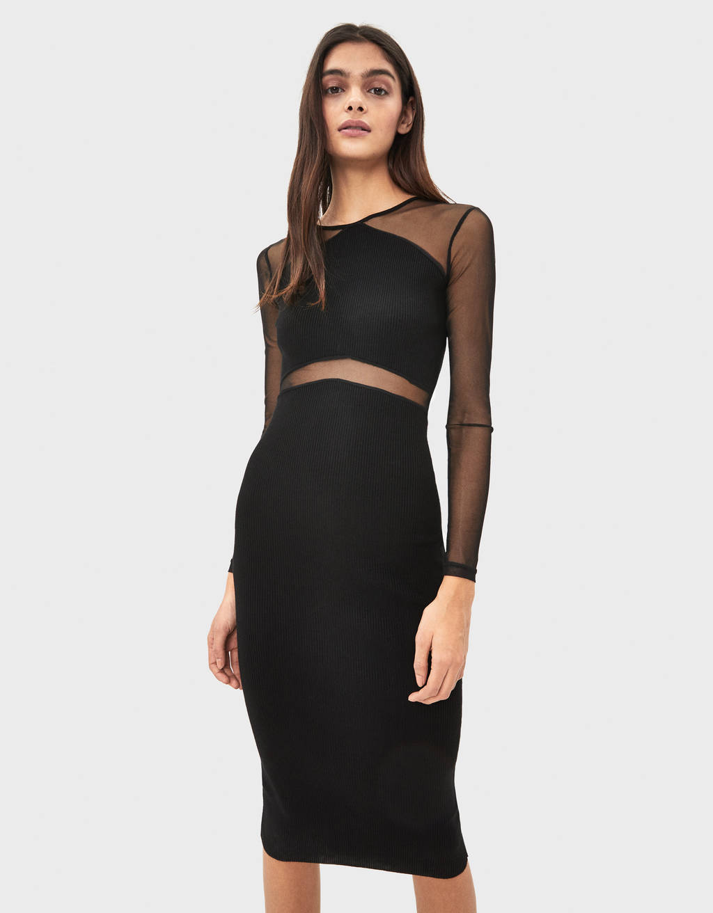 Midi dress with sheer detailing