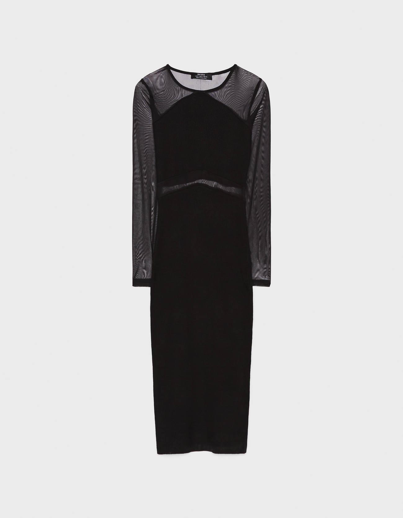 Платье миди на бретелях с прозрачными вставками ЧЕРНЫЙ Bershka