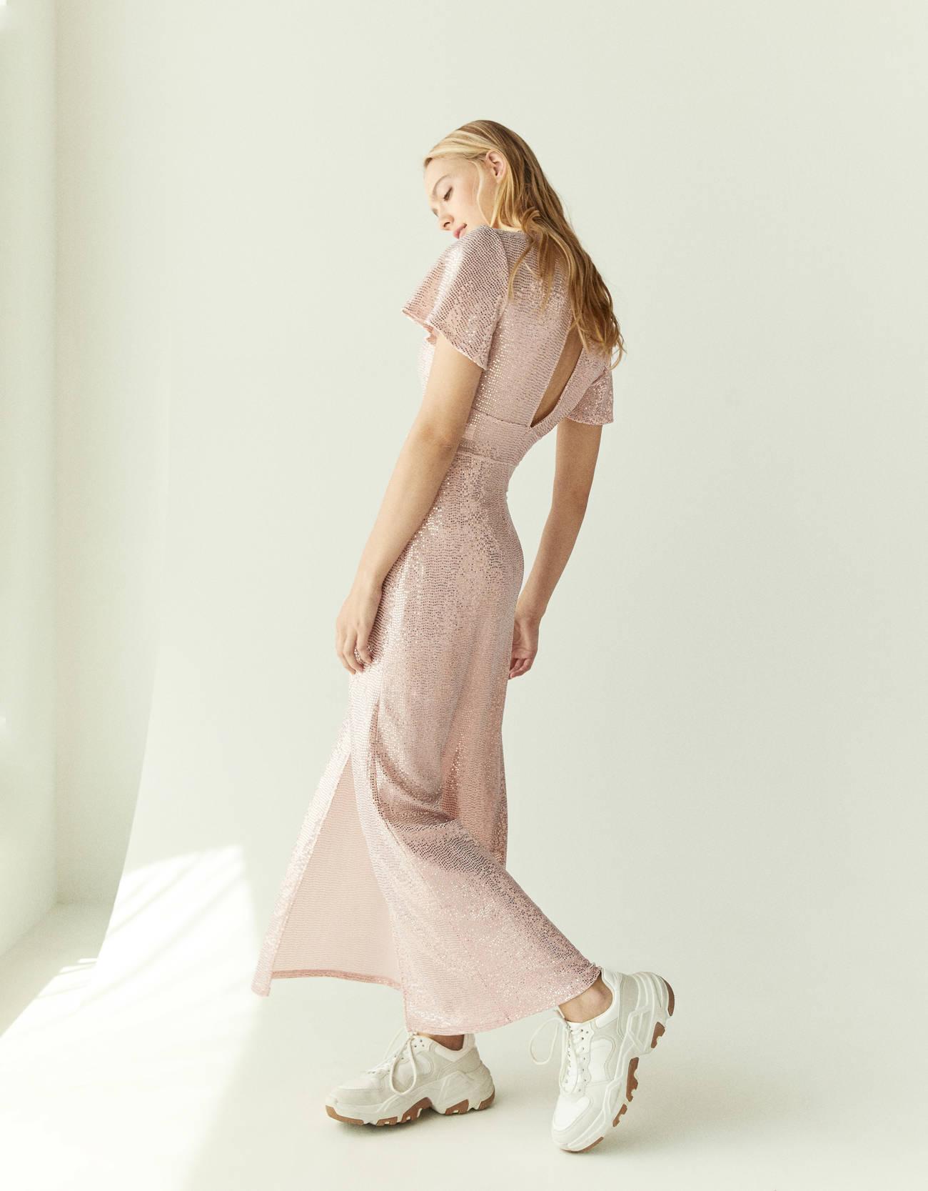 Длинное платье с пайетками Розовый Bershka