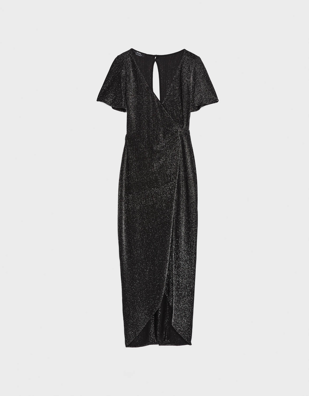 Длинное платье с металлизированной нитью Серебряный Bershka