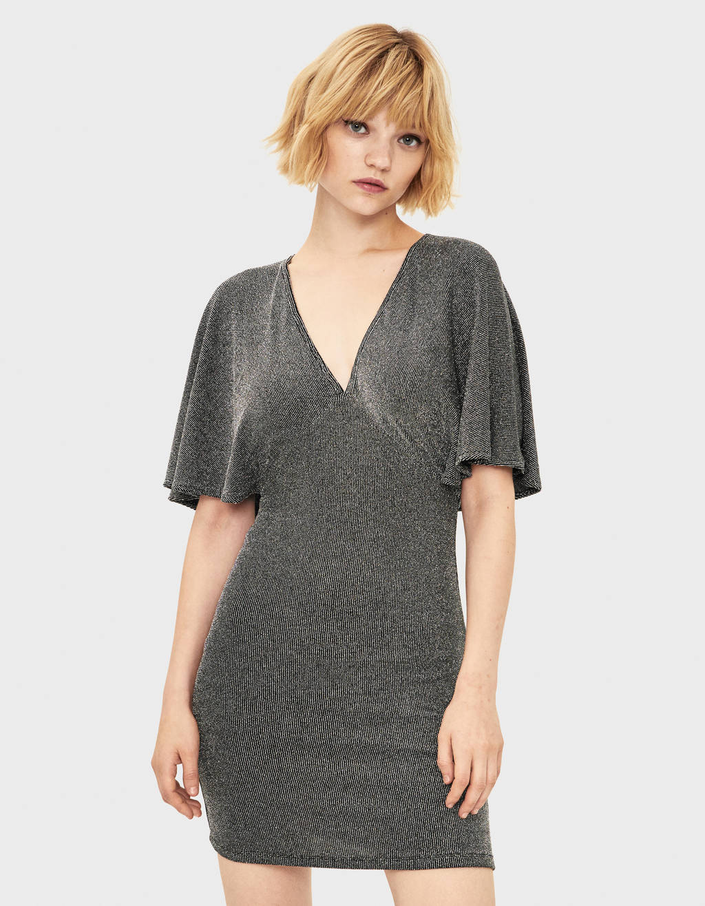 Metallic thread mini dress