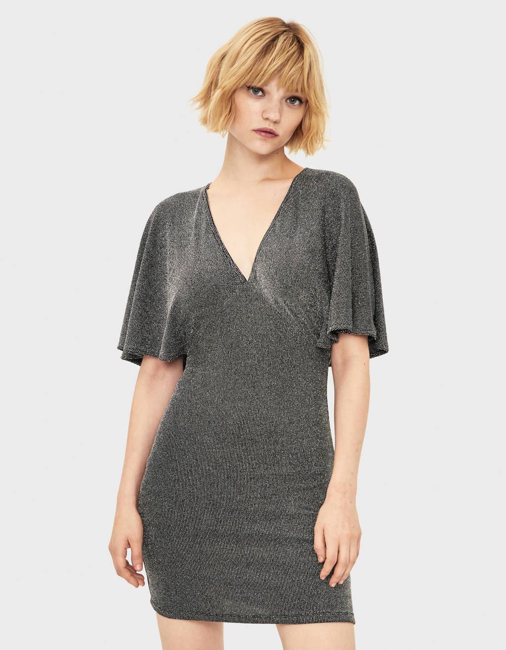 Metallic thread mini dress
