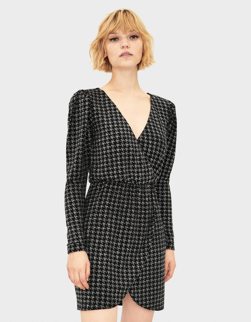 Houndstooth dress with shimmer