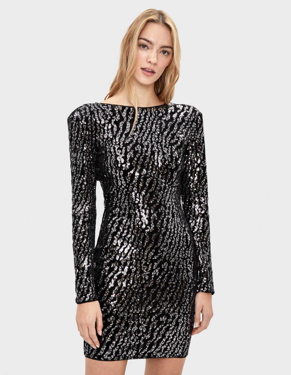 Short sequinned velvet dress
