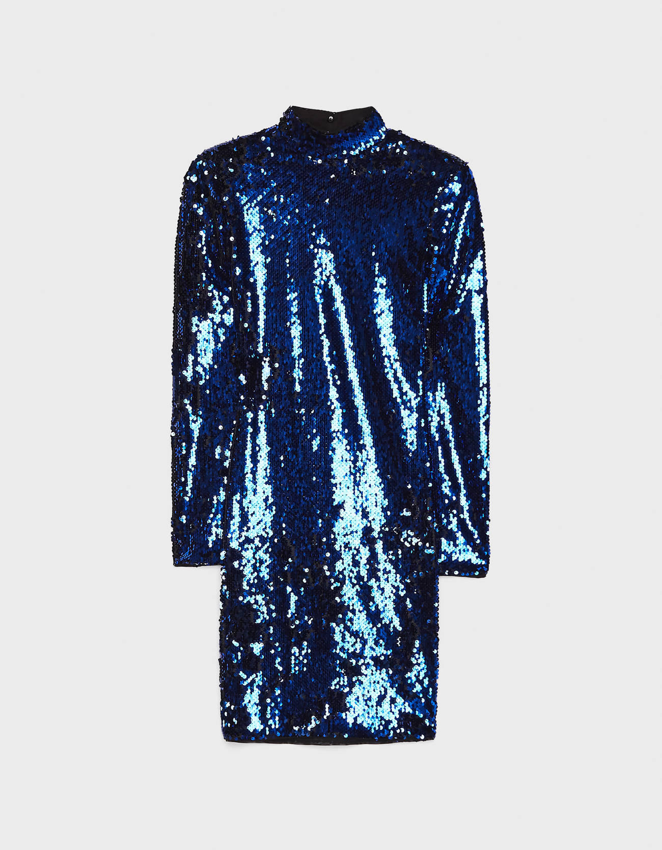 Короткое платье с пайетками СИНИЙ Bershka
