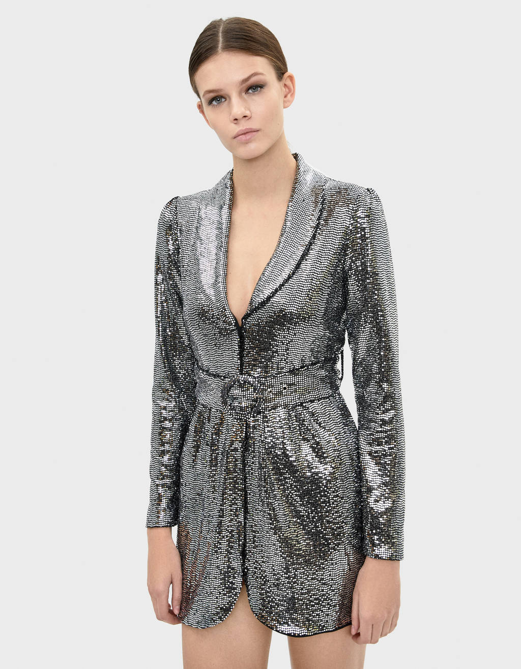 Mirrored sequin blazer dress
