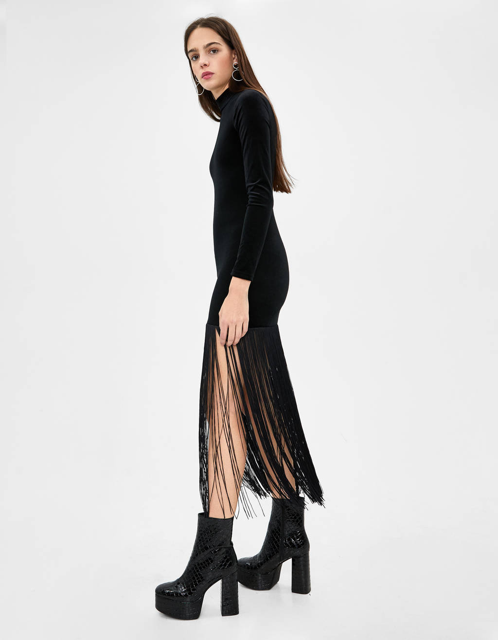 best authentic cheap prices best Fringed long dress - JOIN LIFE - Bershka Kosovo