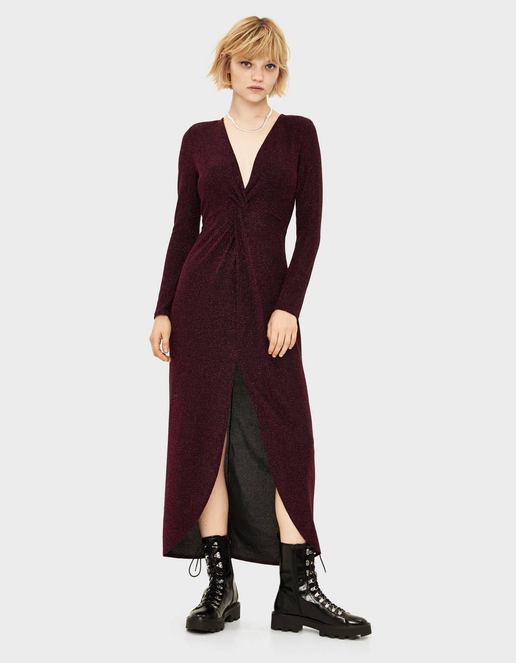 Long metallic thread dress