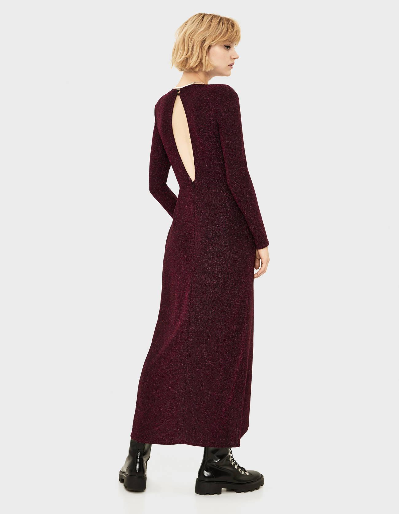 Длинное платье с металлизированной нитью Фуксия Bershka