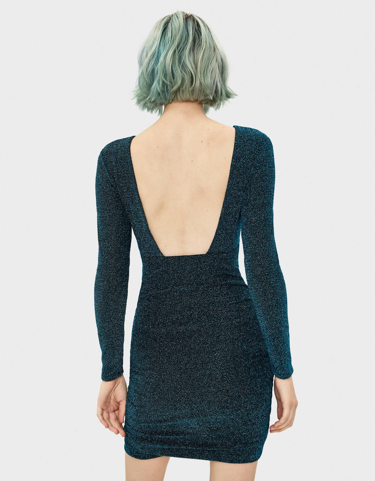Платье с драпировкой и блестящей нитью СИНИЙ Bershka