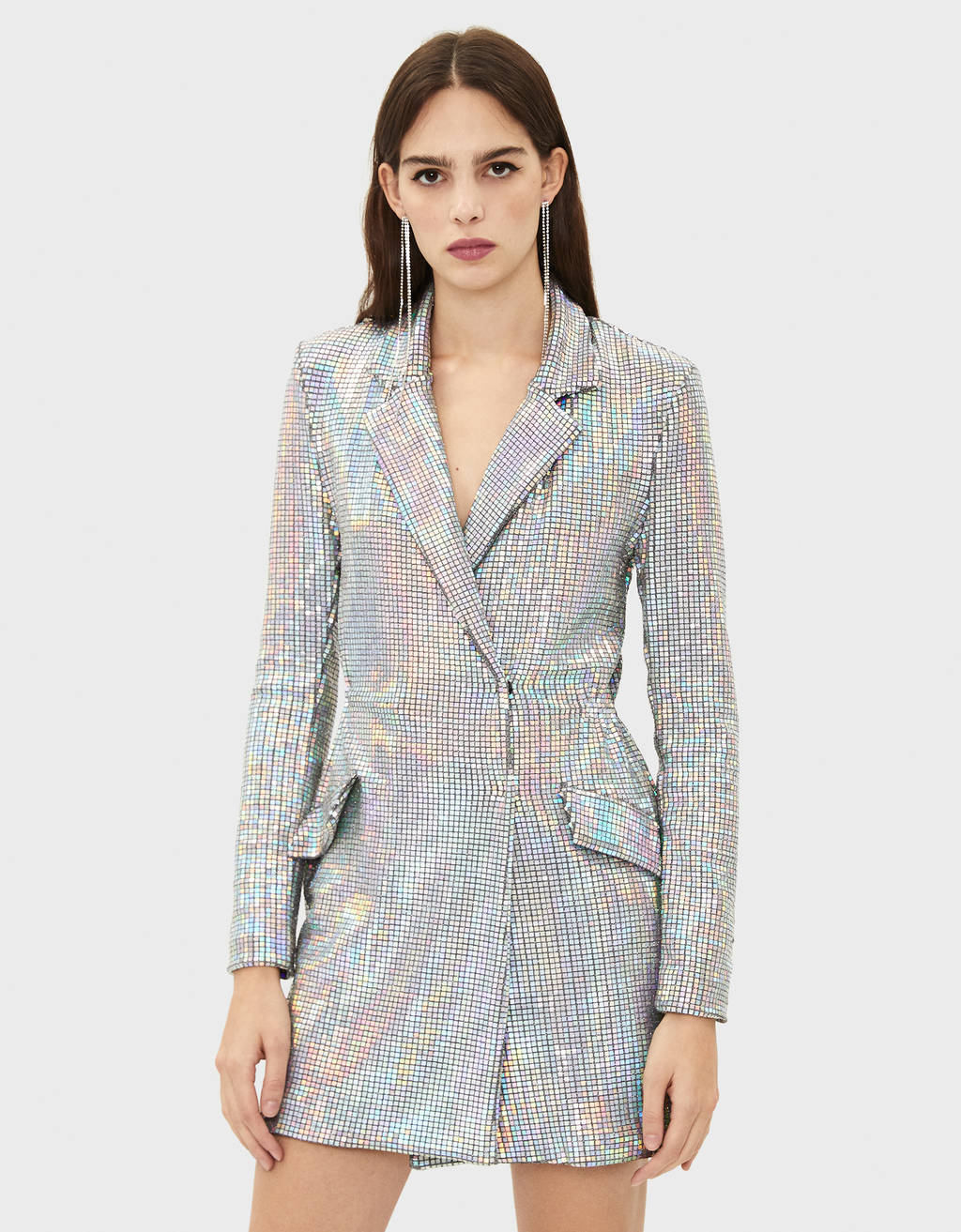 TIDAL x Bershka Blazer dress with iridescent mirrored sequins