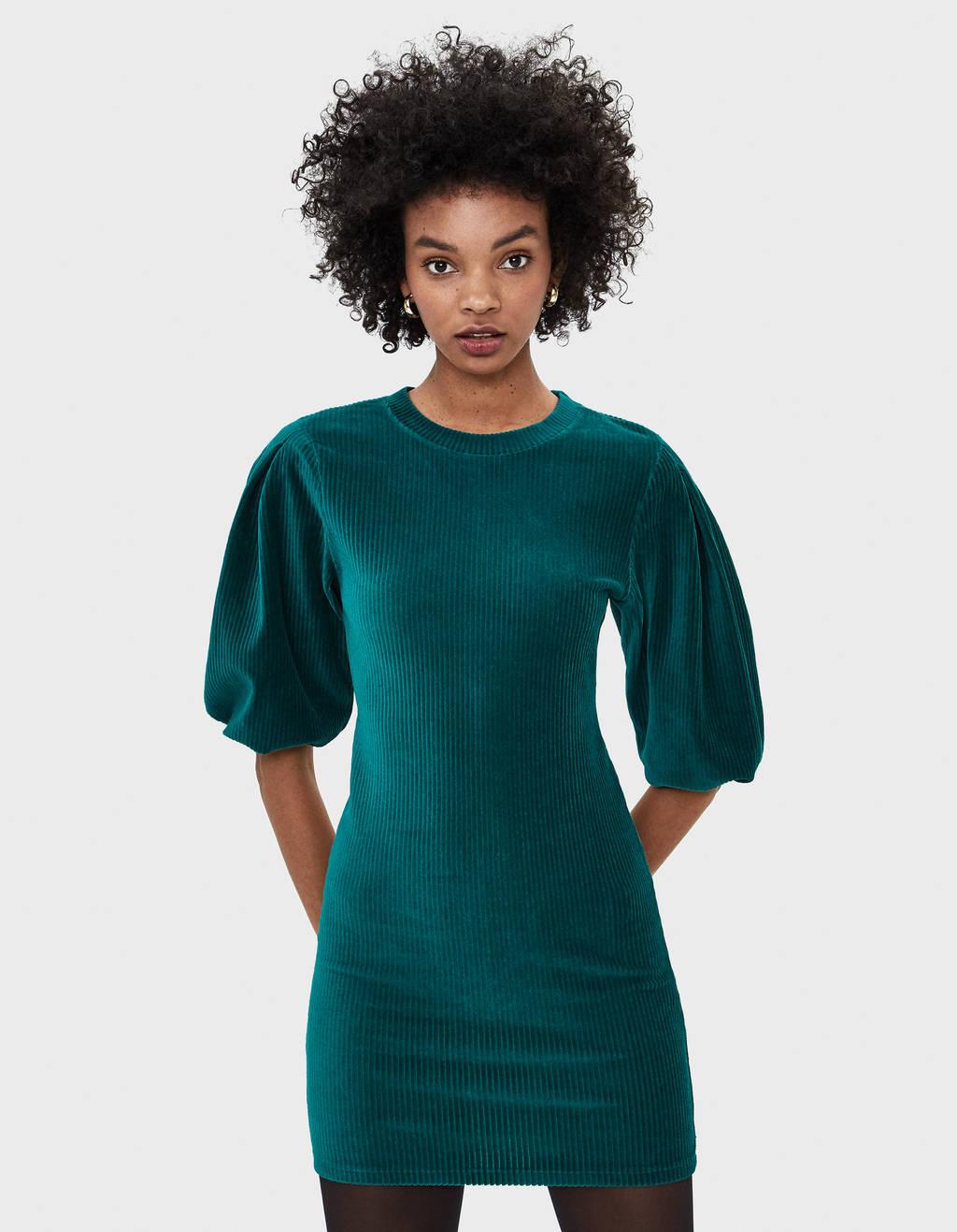 Puff sleeve corduroy dress