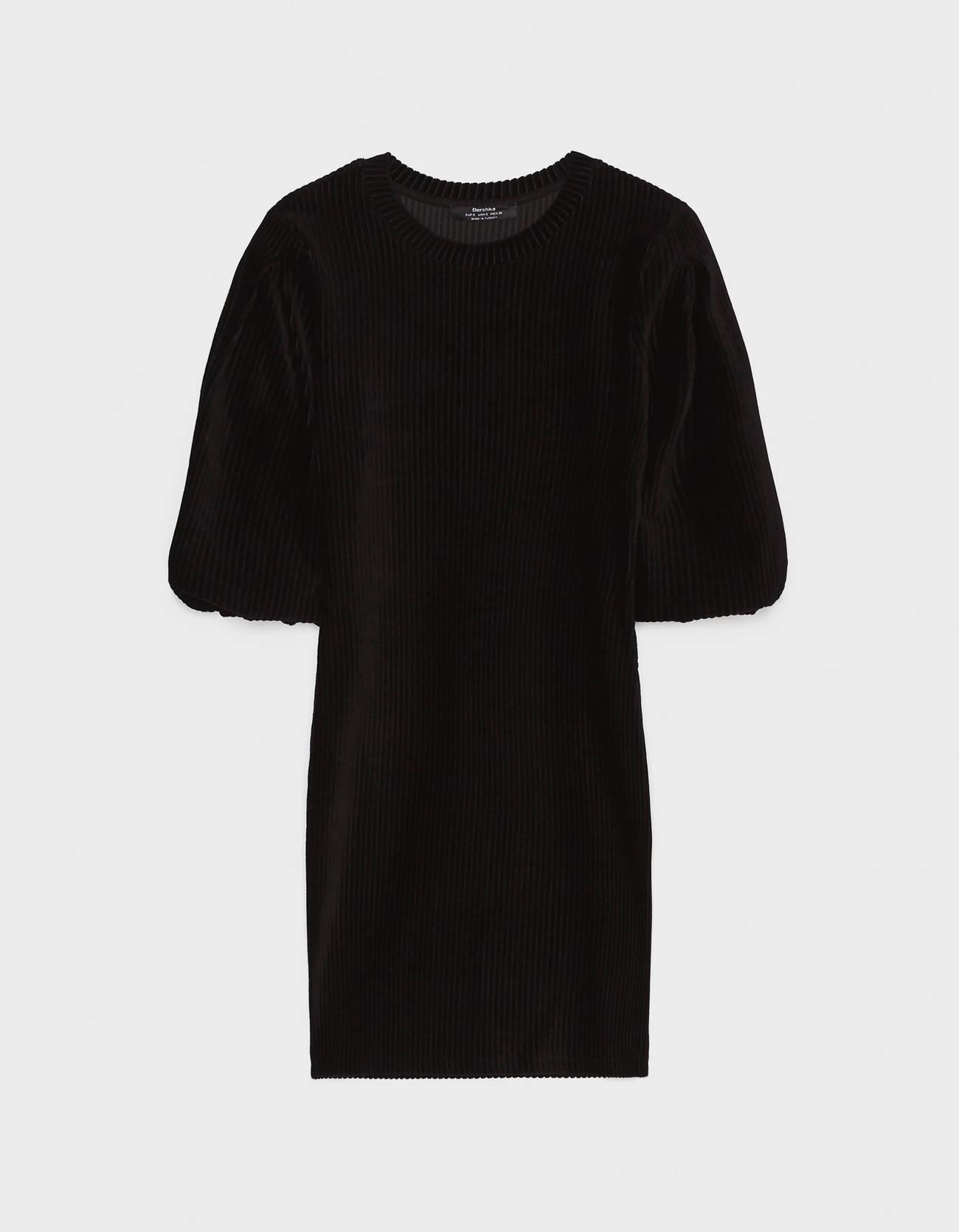 Платье из вельвета с объемными рукавами Черный Bershka
