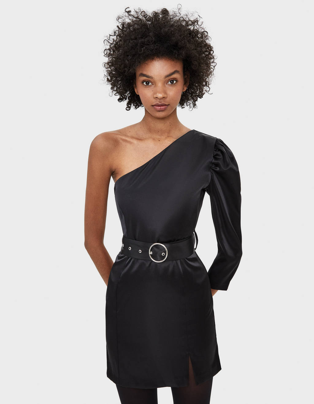 Asymmetric satin dress with belt