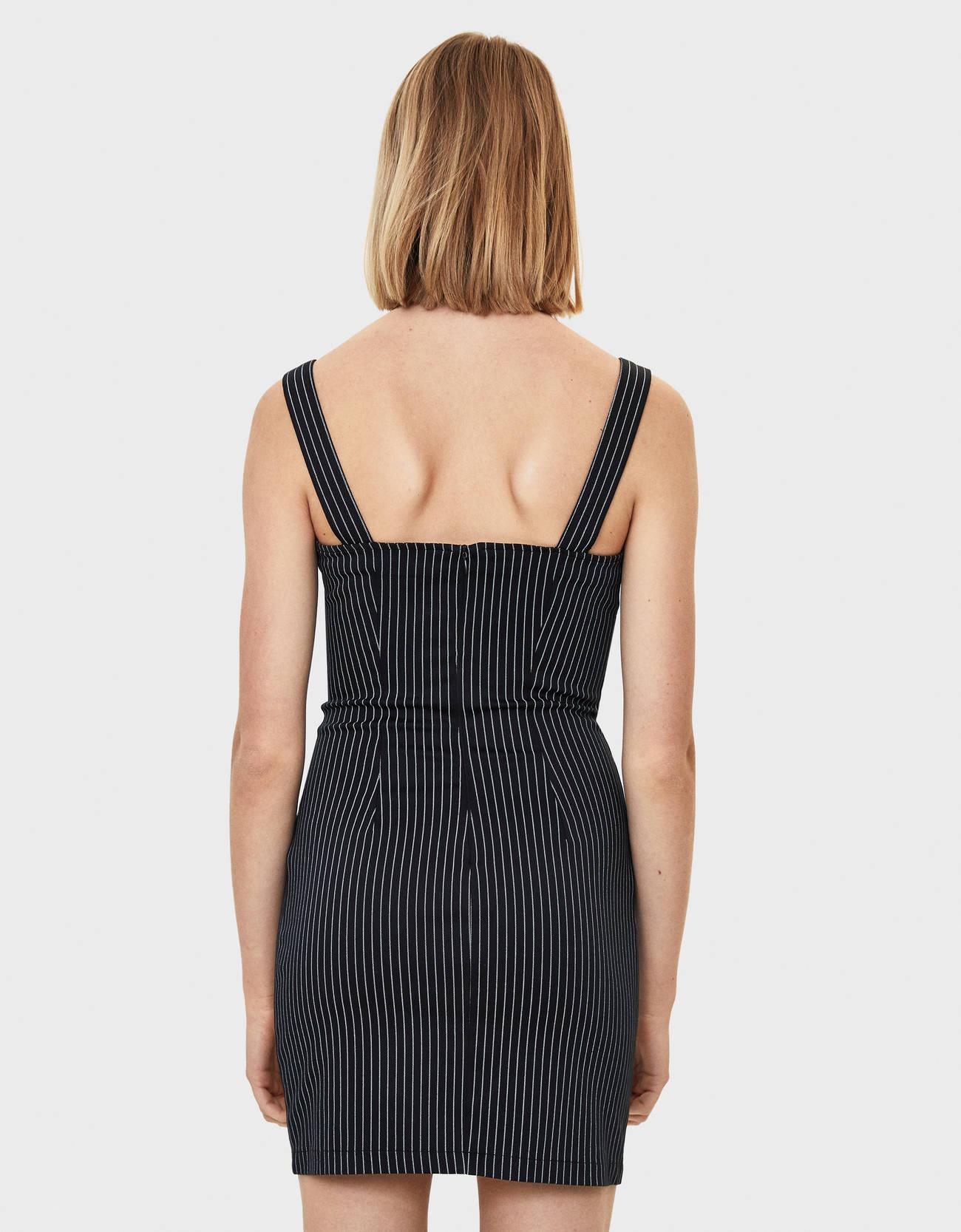 Платье в полоску Черный Bershka