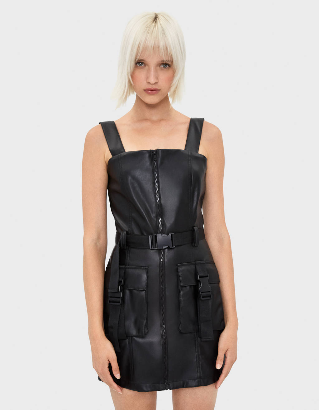 Faux leather utility dress