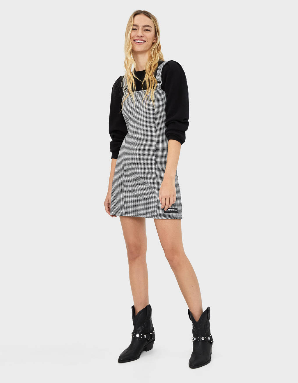 Check pinafore dress with rings