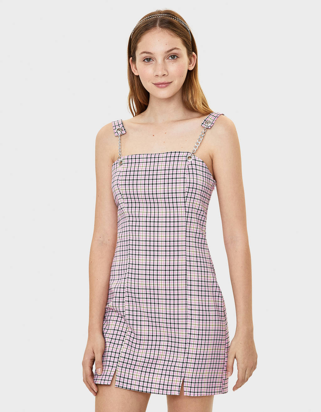Plaid overall dress with chain straps