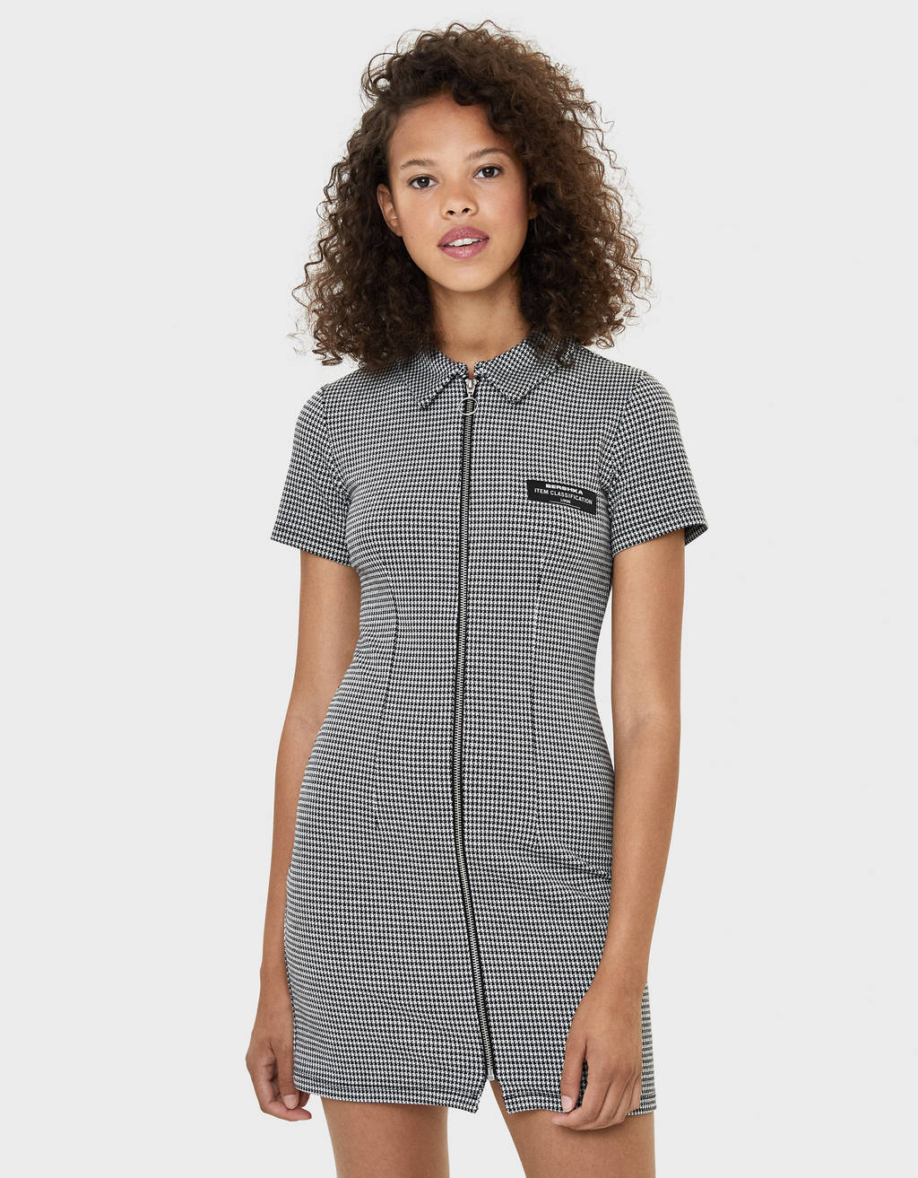 Checked dress with zip