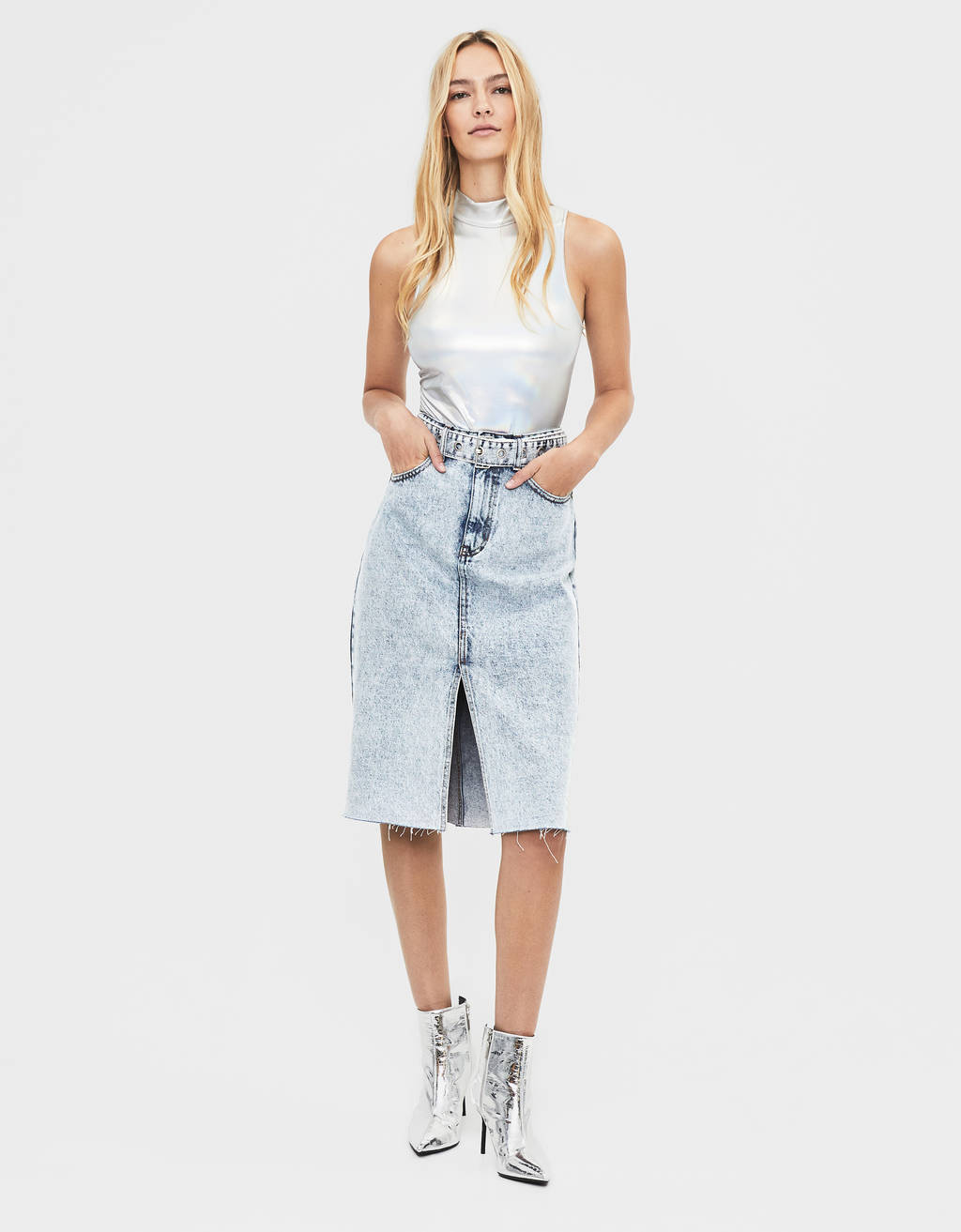 Falda denim midi