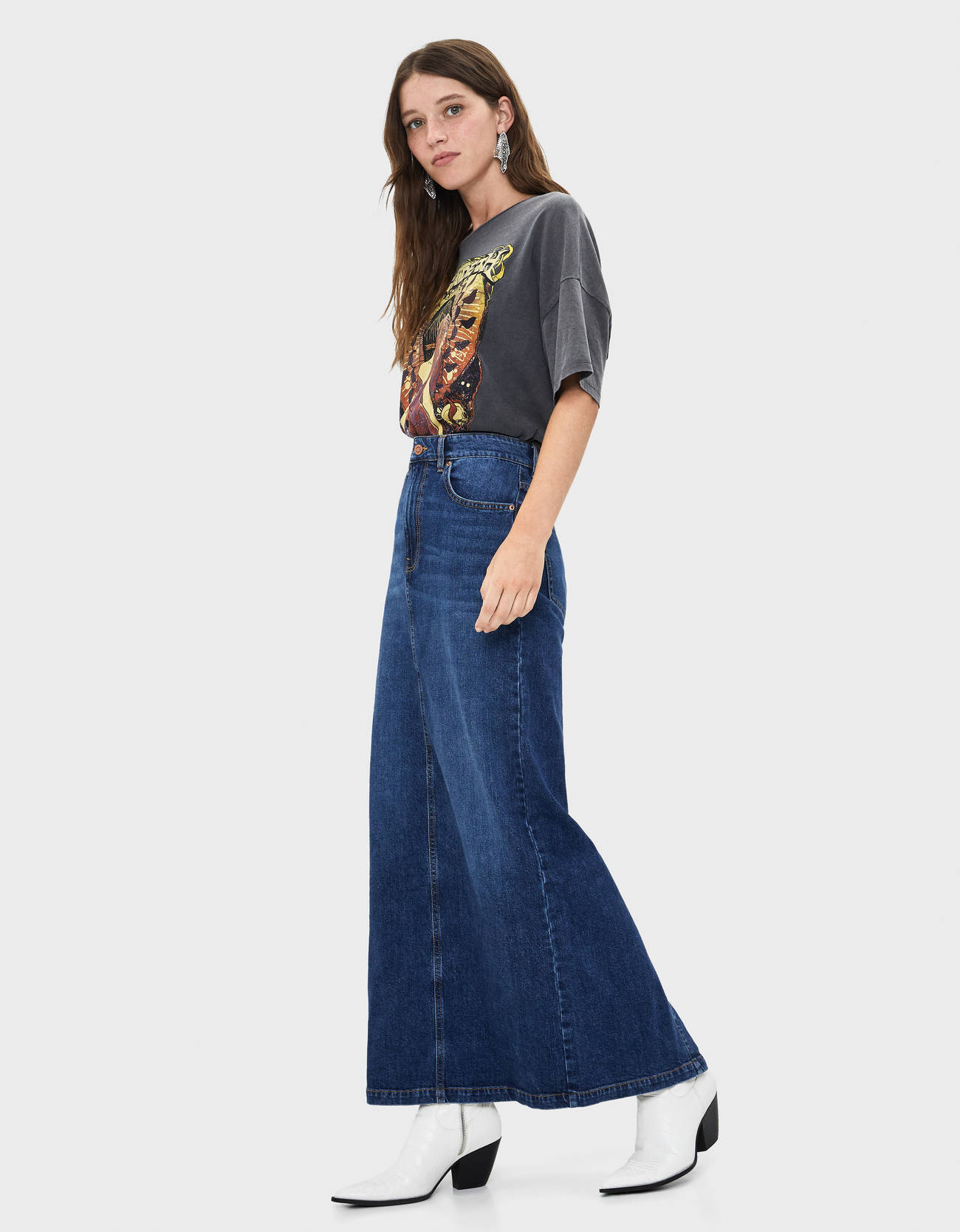 Длинная джинсовая юбка Синий Bershka