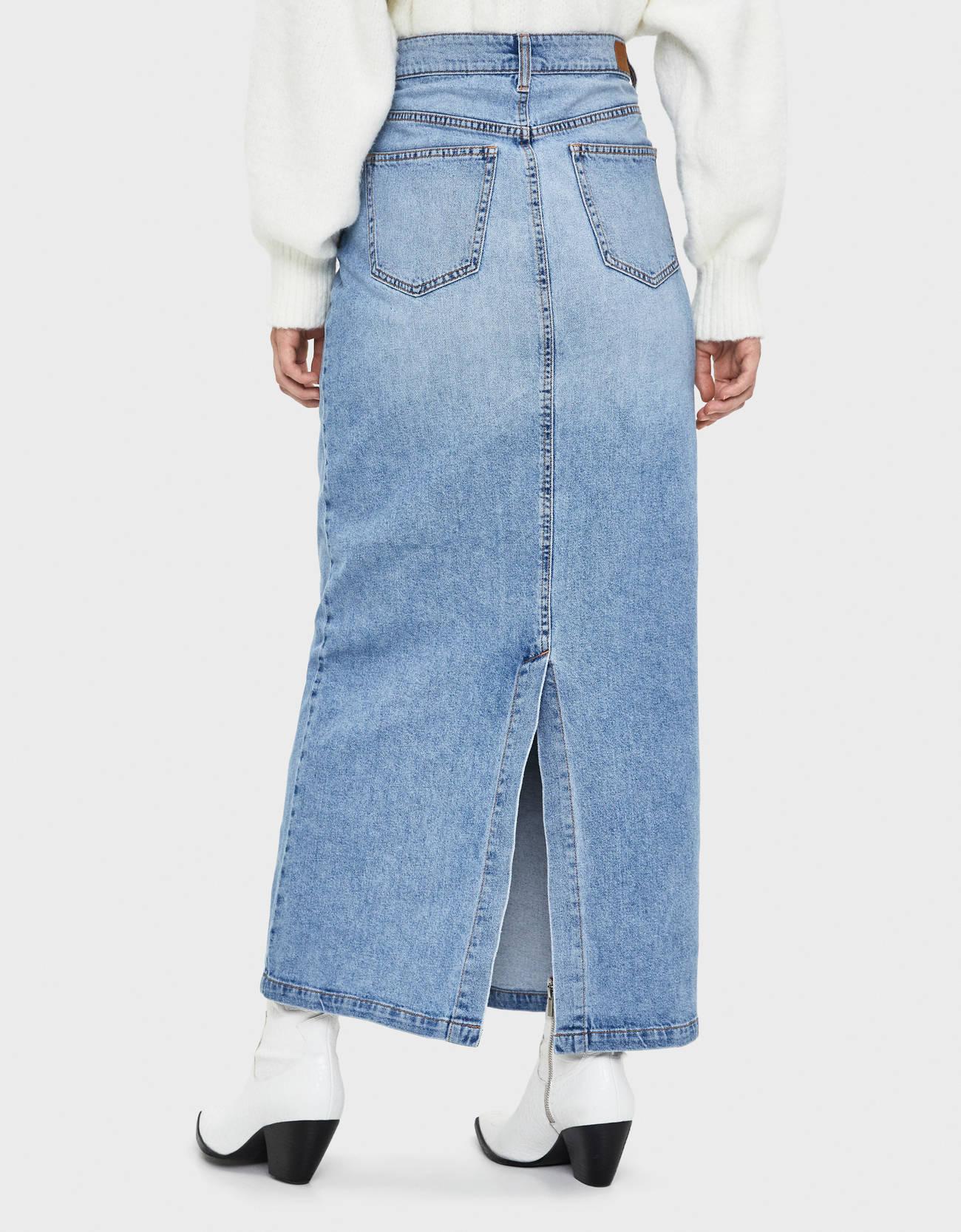 Длинная джинсовая юбка Синий застиранный Bershka