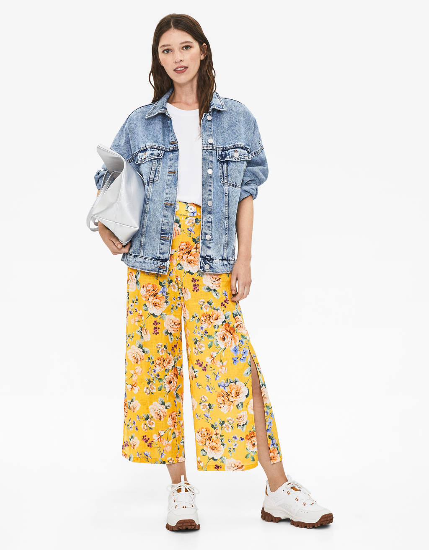 Calças culottes com estampado floral