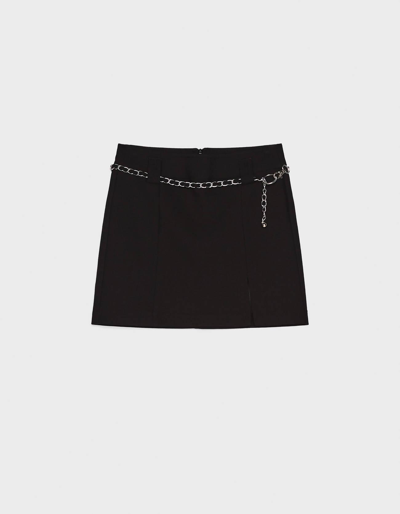 Мини-юбка с цепочкой Черный Bershka