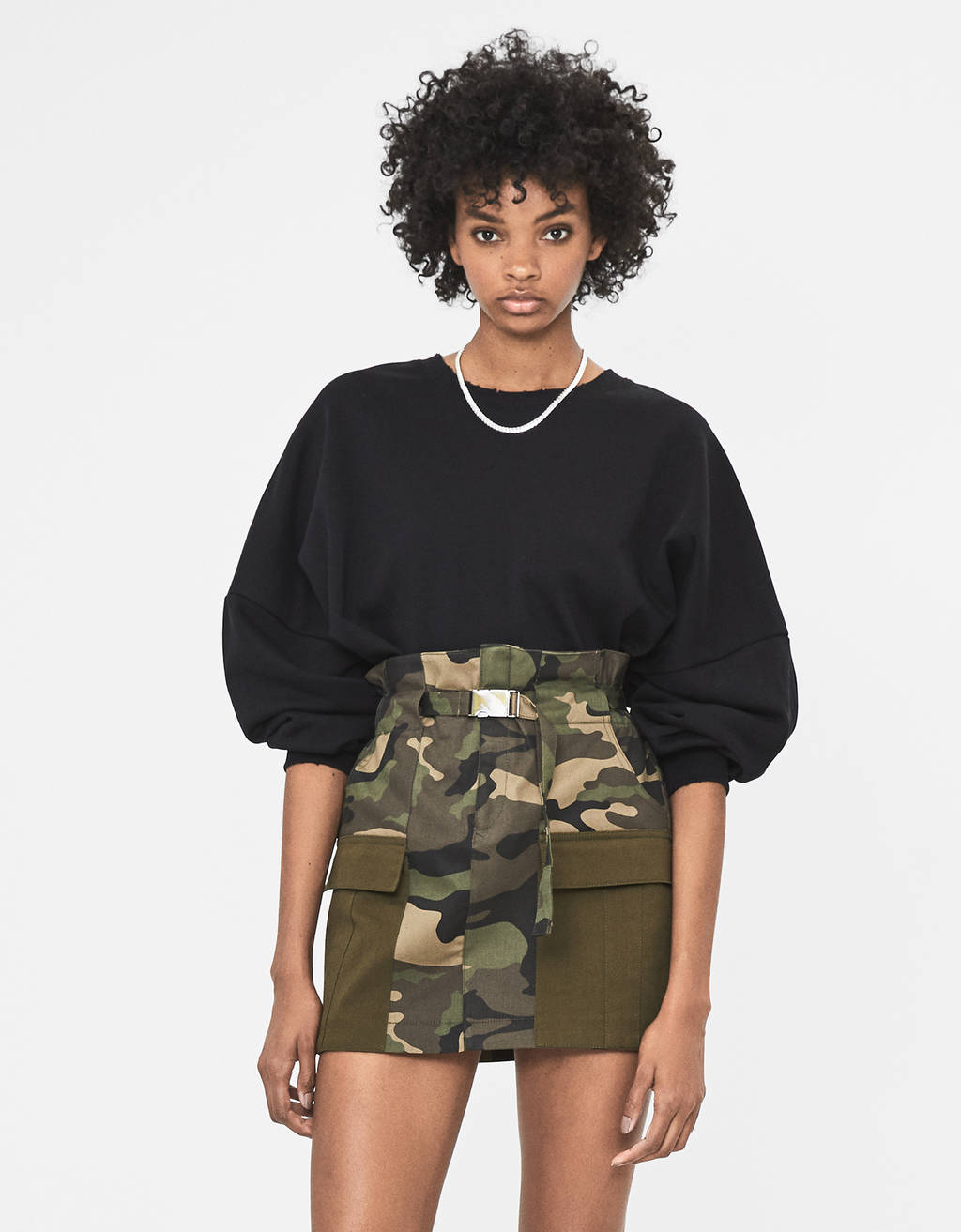 Camouflage cargo skirt