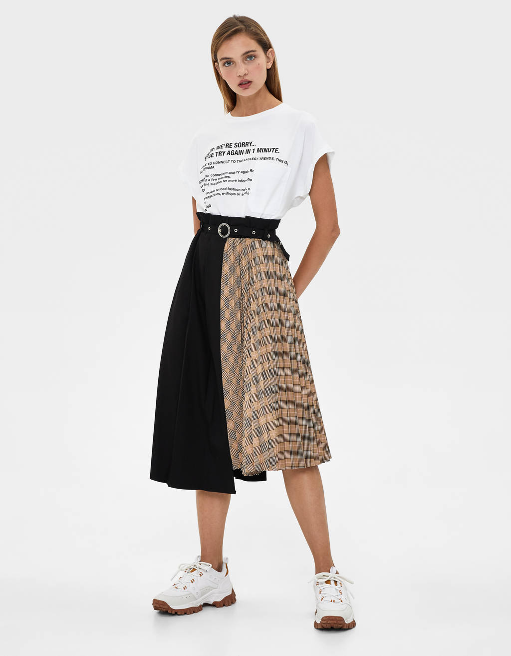 Pleated colour block skirt