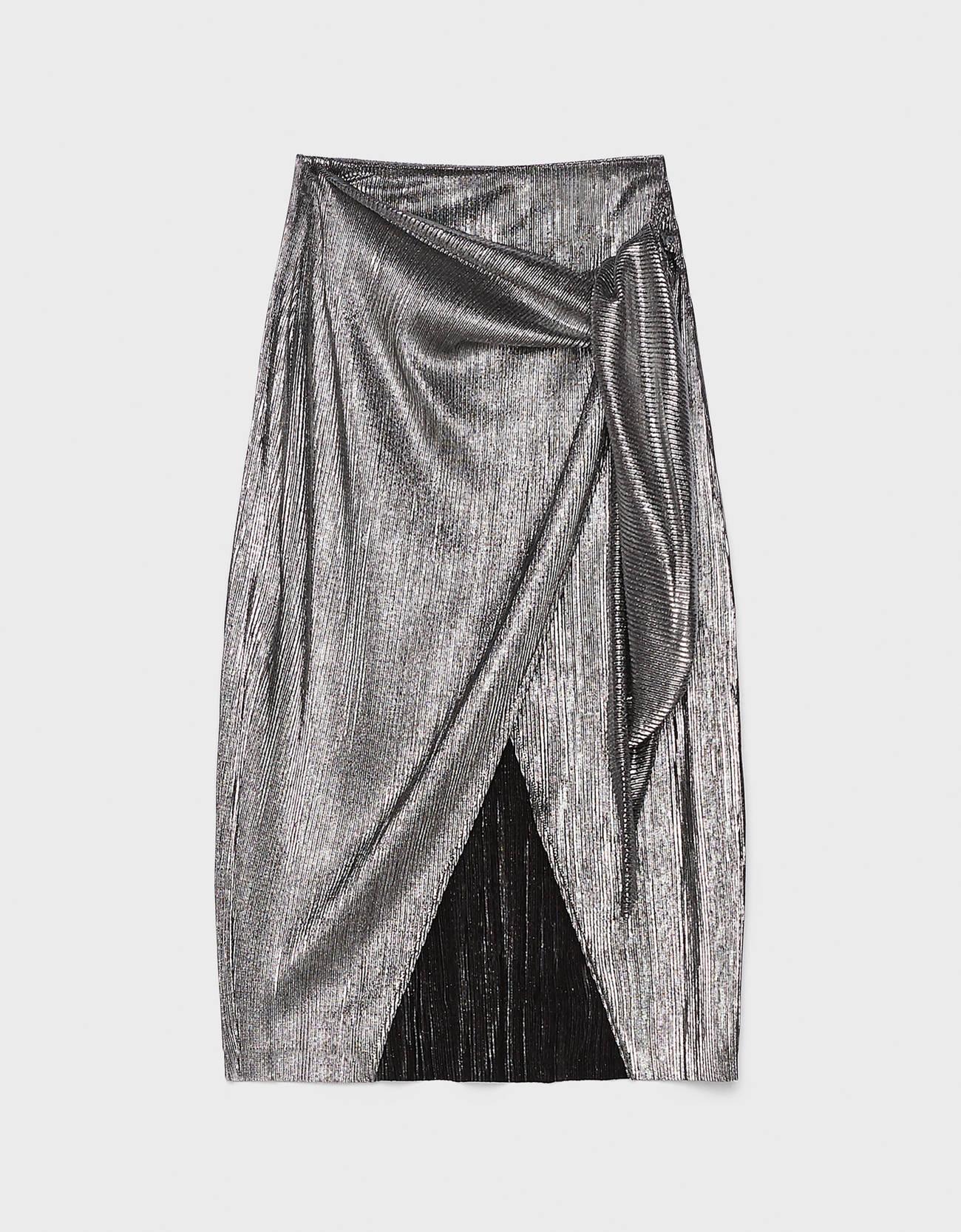 Юбка миди цвета металлик с разрезом Серебряный Bershka