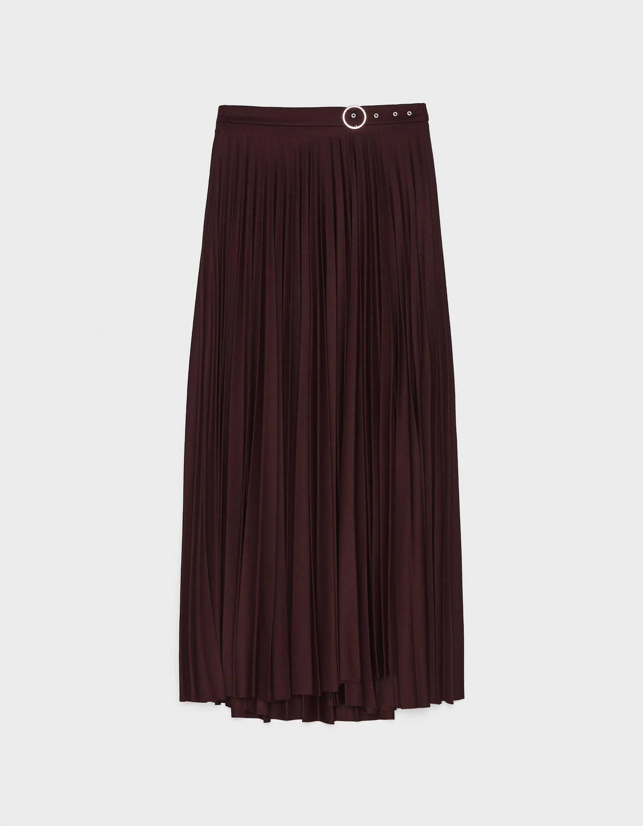 Плиссированная юбка с пряжкой Гранатовый Bershka