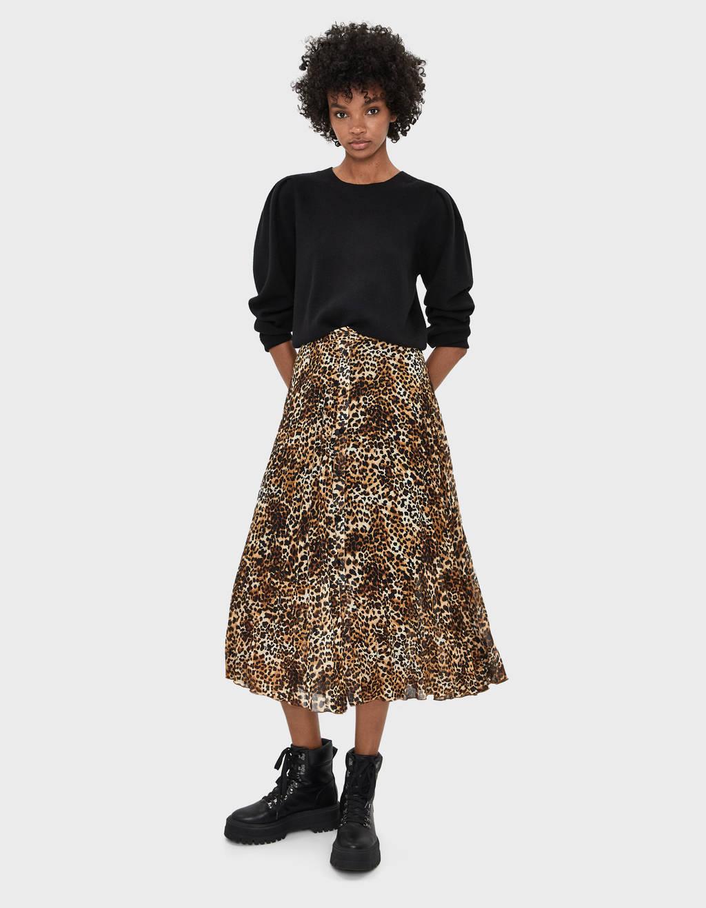 Pleated zebra print skirt