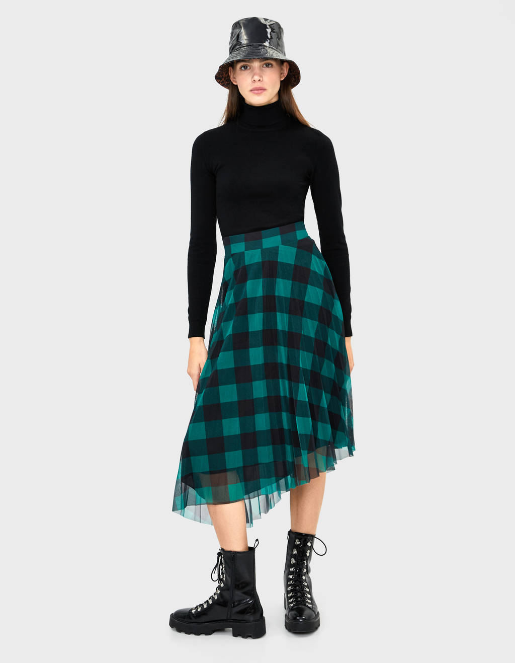 Checked asymmetrical skirt