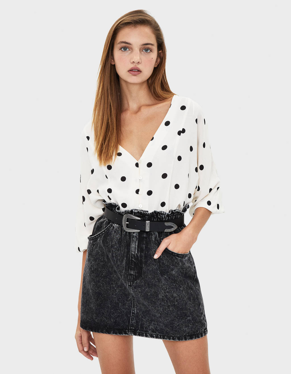 Falda denim mini