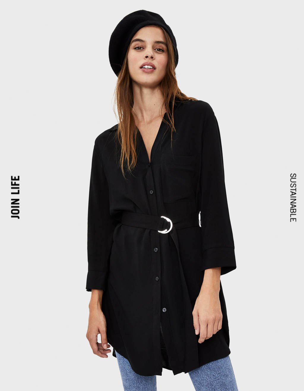 Long shirt with belt