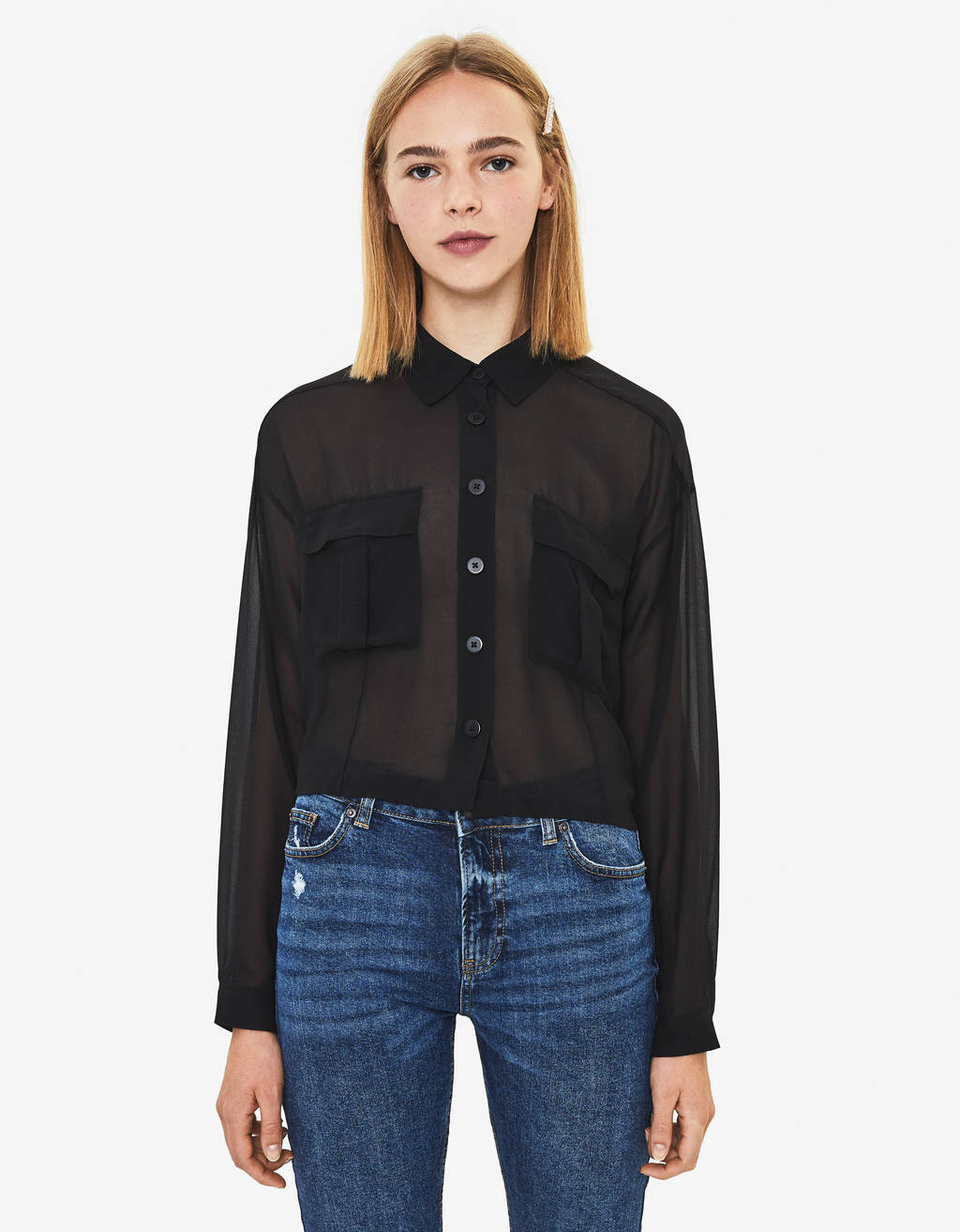 Cropped shirt with pockets