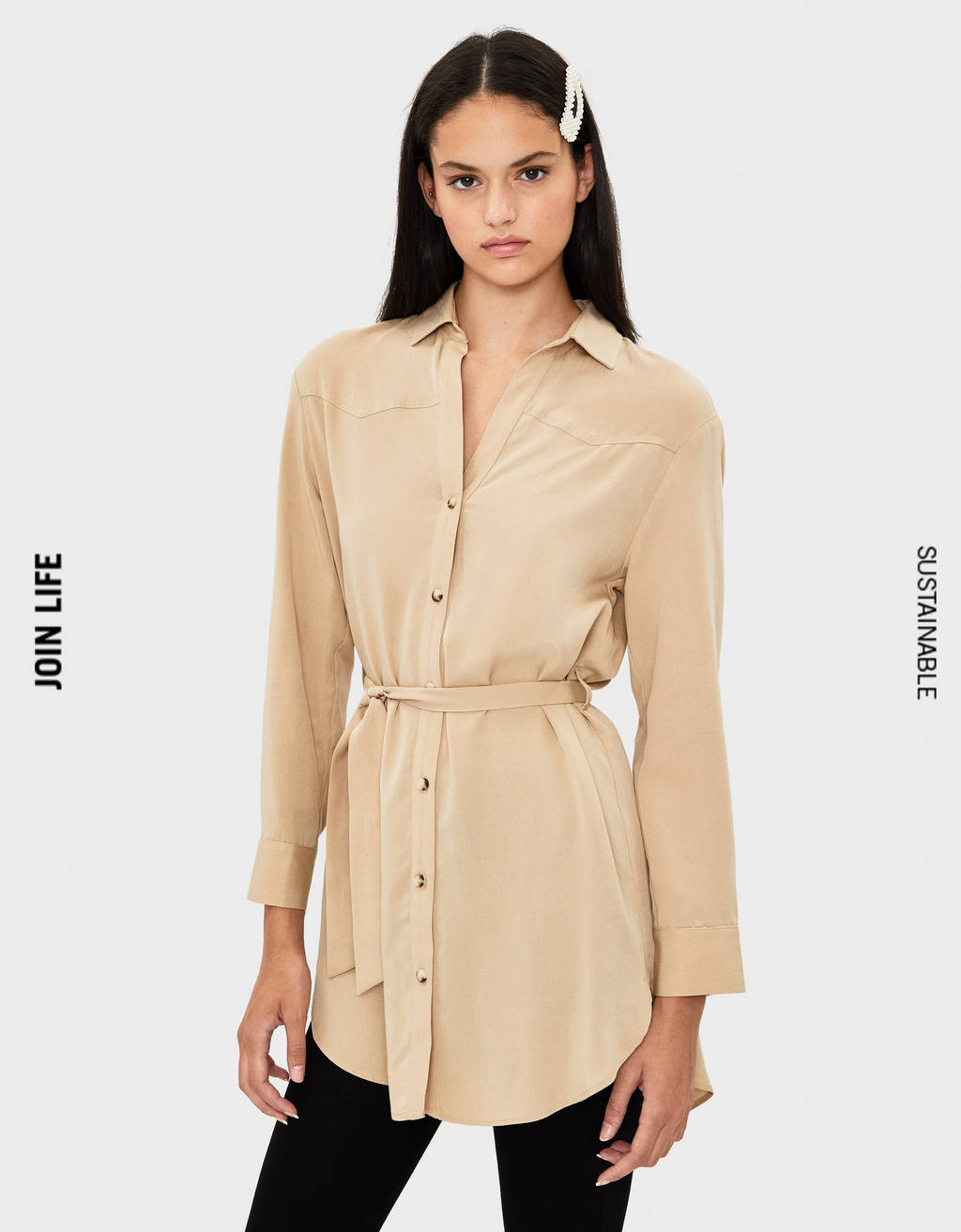 Synthetic rayon belted shirt