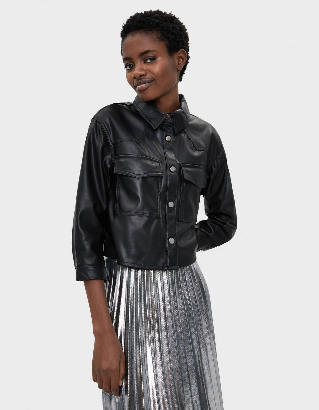 Faux leather cropped shirt