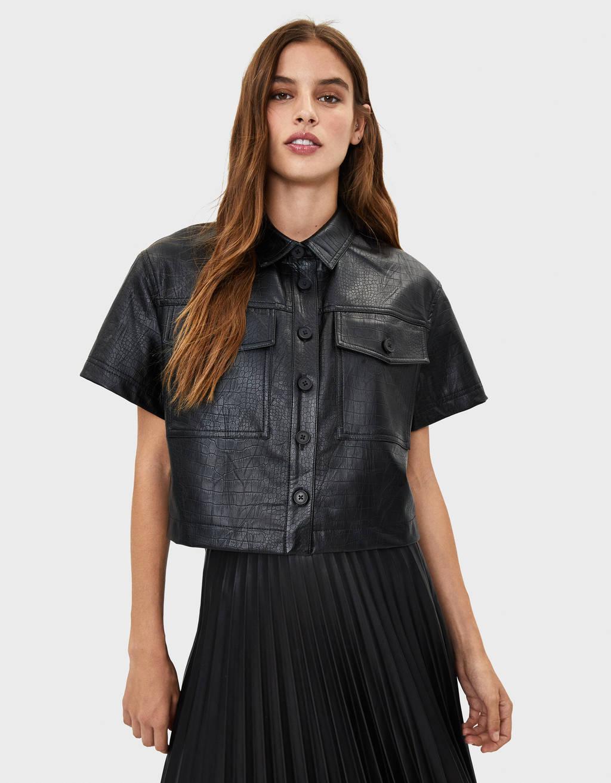 Плотная рубашка с отделкой под крокодиловую кожу